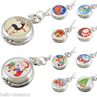 HQ Fahsion Enamel Christmas Styele Pocket Watch Kids Unisex Chain Quartz Watch