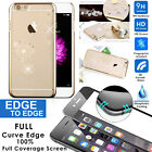 iPhone 6 6s Plus 3D Curved Tempered Glass Screen Protector&Slim Clear Case Bling