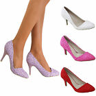 Ladies Lace Stiletto Mid High Heel Pointed Party Bridal Court Shoes Wedding Size