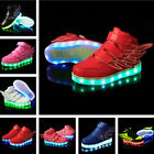 Kids Boys Girls LED Light Up Sports Velcro Sneakers Wings Dance Shoes Xmas Gifts