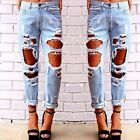 Women's Destroyed Ripped Distressed Slim Denim Pants Boyfriend Jeans Trousers