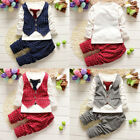 2pcs Kids Baby Boys Gentleman Coat Shirt Tops+Long Pants Clothes Outfits Set