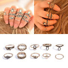 10Pcs /Set Women Alloy Bohemia Style Cute Elephant Flower Knuckle Ring Jewelry