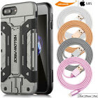 iPhone 7 6 Full Cover Curved Glass Screen& MFi Lightning Cable&Wallet Case Armor