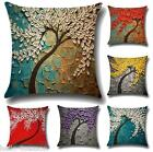 HOT 3D Painting Trees Flowers Cotton Linen Cushion Pillow Case For Living Room