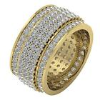 SI1/G 5.50 Ct Round Diamond 5 Row Eternity Wedding Ring 14Kt Solid Gold 11.65 MM