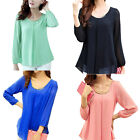 Women's Trendy Tops Long Sleeve Chiffon Solid Color Pleated Shirt Casual Blouse