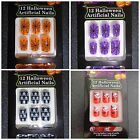 12 Halloween Artificial Nails & Glue, Skull, Spiderweb,Bat Fancy Dress Accessory