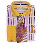 Fratello Mens Multi Mustard French Cuff Dress Shirt Tie Set FRV4133P2 Retail $60