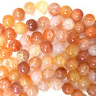 "Orange Crab Fire Agate Round Beads Gemstone 15"" Strand 4mm 6mm 8mm 10mm 12mm"