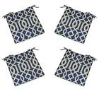 Set of 4 - In / Outdoor Admiral Blue Geometric Foam Chair Cushions - Choose Size