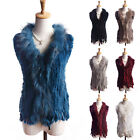 Women Winter Real Knitted Rabbit Fur Long Vests Gilet Fur Collar With Fur Tassel