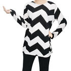 Girls Women Ladies Long Sleeve Shirt Casual Zig-zag Pattern Pullover Tops Blouse