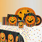 SMILING PUMPKIN - HALLOWEEN PARTY RANGE (Tableware/ Decorations) Spots/Stripes