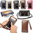 Mobile Phone Touch Screen Universal Leather Wallet Shoulder Bag Pouch Case Cover