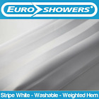 Euroshowers | White Satin Stripe Fabric Shower Curtain Weighted Large Wide Long