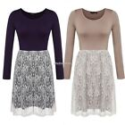 Fashion Women Long Sleeve High Waist Lace Patchwork Mini Shift Dress N98B