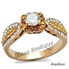 Women's Halo Round Cut Citrine CZ Rose Gold Plated Engagement Ring Size 5-10