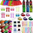 NEON TUTU SKIRT BRACES GLOVES JEWELLERY 1980S 80S FANCY DRESS COSTUME ACCESSORY