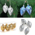 4pcs Christmas Tree Decorations Shiny Pinecone Hanging Home Xmas Party Ornament