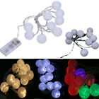 10x 2.3m Battery Powered Christmas Wedding Party String Lights Cotton Ball White