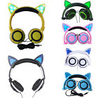 Mobile Phone Foldable Flashing Cat Ear Headphones Headset Earphone W/LED light