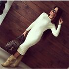 Women Back Slit Twisted knitted pull Femme Long sleeve pullover Sweater Dress