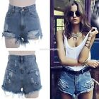 Fashion Women Retro Punk High Waisted Hole Hot Pants Short Denim Jeans Shorts