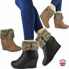 Womens Ladies Winter Fur Wedge Platform Ankle Boots Zip Fluffy Lined Shoes Size