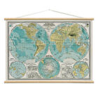 World Hemispheres Map Poster Hanger Kit Atlas Vintage Style Ephemera 28 x 20
