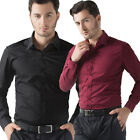 Mens Office Smart Formal Shirts Slim Long Sleeve Casual Button T Shirt Tops NEW