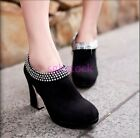 Retro Ladies Faux suede Bling Bling Pumps High Heel Ankle Boots Party Shoes Size