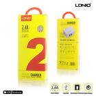 LDNIO 2 Port Auto-ID Home Travel Charger with Cable For iPhone 7 Portable Device