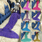 Vintage Crocheted Mermaid Tail Blanket+Knitting kids Adult Sofa Sleeping Bag Hot