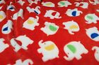 Double Sided Supersoft Cuddlesoft Fleece Fabric Material - ELEPHANTS RED