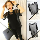 Women See Through Shirt Mesh Short Sleeve Cool Cover Tops Suave Plus Casual