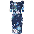 3/4 SLEEVE 40s NAVY FLORAL WIGGLE PENCIL COTTON VINTAGE COCKTAIL PROM DRESS 8-18