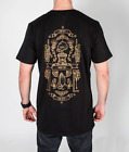 Black Tall Tee Sunday Session BBQ Gold Print T Shirt Longline Urbanwear Cotton