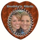 "Heart Shaped Ceramic Photo Tile ""Leather Look"" Personalized CHRISTMAS GIFT Love"