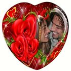 VALENTINES Day Heart Shaped Ceramic Tile, Personalized Photo gift, ROSES Flowers