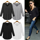 Women's Lady Cotton Long Sleeve V Neck Loose Casual T-Shirt Tee Tops Blouse Hot