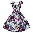 White Floral Vintage Swing Dress 50s Rockabilly Prom Cocktail Swing Dress PLUS