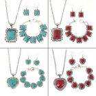 Fashion Women Turquoise Stone Earrings Bracelet Necklace Jewelry Set Bib New