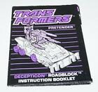 Roadblock Action Figure Robot Instruction Manual 1989 Hasbro G1 Transformers - Time Remaining: 17 days 9 hours 38 minutes 48 seconds