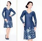 DRESS WEAR TO WORK A-LINE LONG SLEEVE V-NECK CASUAL FLORAL MADE IN EUROPE S M L