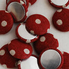 10 Fabric Covered Buttons - Flat Back - Polka Dots