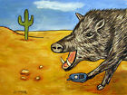javelina talking on a cell phone signed animal art print 8x10