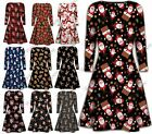 New Womens Reindeer Gift Print Christmas Party Skater Swing Dress PlusSize 24-34