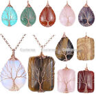 Natural Gems Copper Wire Wrap Tree of Life Teardrop Rectangle Pendant Necklace