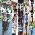 Women Girl Snowflake Reindeer Leggings Skinny Pencil Pants Trousers Xmas Gift